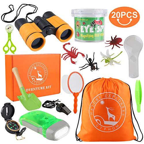 GTPHOM Kit de Exploración para Niños 19 en 1, Prismáticos, Silbato, Brújula, Lupa, Arañas, Insecto, Regalo de Cumpleaños para Niños de 3-10 Años Juego de Explorador Jugar para Niños