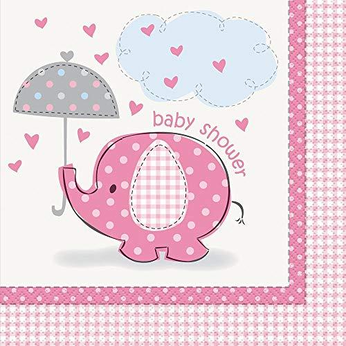 Unique Party Supplies Pink Elefant Baby Dusche Servietten, 16Stück