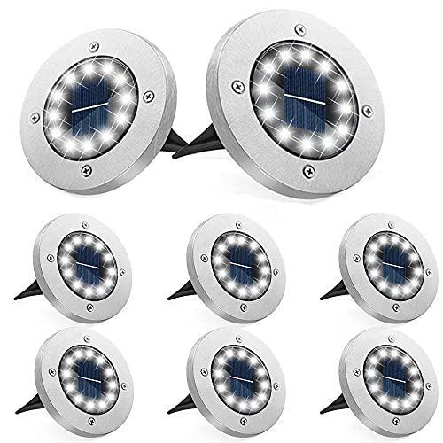 Bzavor 8er Solar Bodenleuchte Aussen, 12 LEDs Solar Leuchten Mit Upgrade Solarpanel Gartenleuchte Solarlampe Solar Strahler Deko für Rasen,Gehweg,Pool,Terrassen(KaltWeiß)