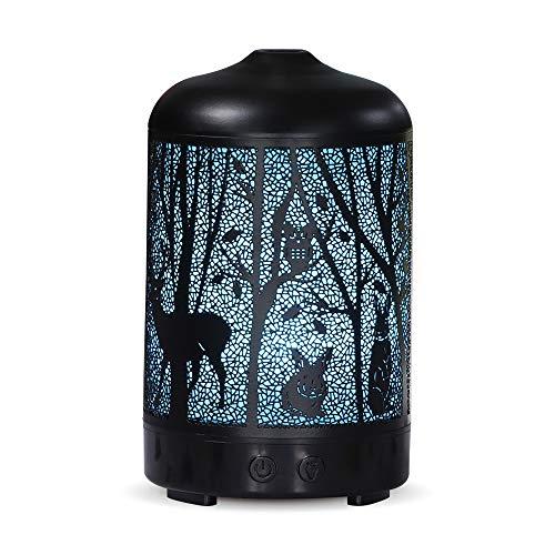 DEPNEE Aroma Diffuser, Metall Aromatherapie Diffusor 100ml für ätherische Öle, Vintage Luftbefeuchter für Duftlampe Diffusor 7 Farben für Baby, Home-Office oder Yoga