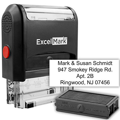 Custom Self Inking Rubber Stamp - Up to 4 Lines - with Extra Ink Pad (A1848)
