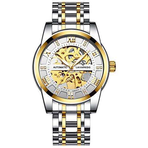 Relojes, Relojes Hombre Mecánico Automático Esqueleto de Estilo Clásico Impermeable Reloj de Los Hombres con Correa de Acero Inoxidable Oro Blanco