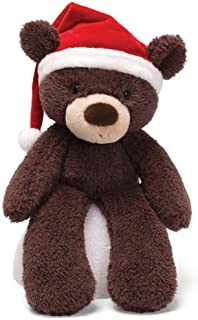 "Gund Fuzzy Bear with Santa Hat Tan 13"""