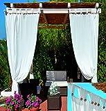 GDLC - Cortinas de sol con tirantes blancas para cenador – Color blanco 140 x 270 cm