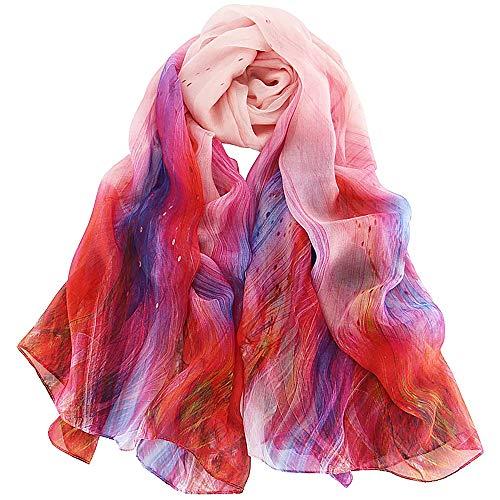 Foulard Donna Seta Sciarpa Leggero Lungo Elegante Naturale 100% Silk Scarf Regalo (Rosa rossa)