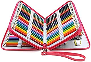 YOUSHARES 120 Slots Pencil Case - PU Leather Handy Multi-Layer Large Zipper Pen Bag with Handle Strap for Prismacolor Watercolor Pencils, Crayola Colored Pencils, Marco Pens and Makeup Brush (Red)