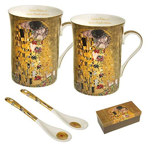 Queen Isabell Kaffeebecher für Zwei Peronen Porzellan Becher mit Löffel Kuss Klimt Set Geschenkidee 2er Set 250ml