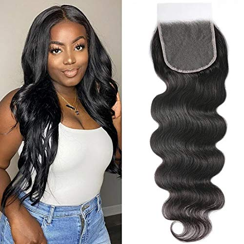 Beauty Forever HD Lace Closure 5X5 Body Wave Unprocessed Virgin Human Hair Transparent Lace Closure Free Part Pre-Plucked Hair Natural Color (16inch, body wave)