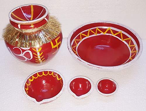 B S NATURAL Navratri Mitti Kalash with Deepak (Multicolour) (1 Kalash with dhakkan + 1 Big Deepak +2 Small Deepak + 1 KUNDA)