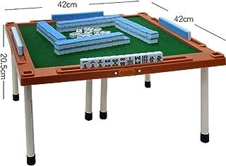 QERNTPEY Mahjong Table Mini Mahjong Table Set Mini Mahjong Chess Board Game Folding with Feet Mahjong Portable Travel Game Desktop (Color : Brass, Size : One Size)