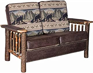 Rustic Hickory Log Love Seat with Faux Leather and Stud Accents - Bear Mountain Fabric
