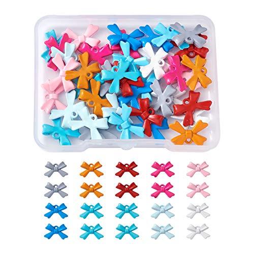 Beadthoven 40 colgantes de lazo esmaltados, 10 colores, de metal, para collar, pulsera, pendientes, bricolaje, joyería, 15 x 10 x 3 mm