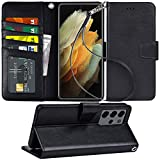 Arae Case for Samsung Galaxy S21 Ultra Wallet Case Flip Cover with Card Holder and Wrist Strap for Samsung Galaxy S21 Ultra, 6.8 inch (Black)