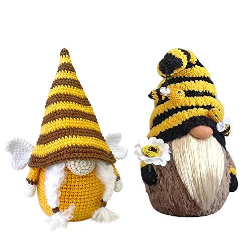 Fascino-M Mini Bienen Zwerg Plüsch Puppe Bienen Zwerg Puppe GNOME dekorativer Kissenbezug für Heimdekoration,Bauernhof,Sonnenblume, Gänseblümchen, Frühlings Dekoration