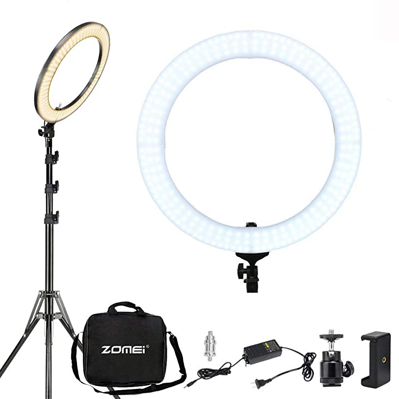LED Ring Light With Stand ZOMEI 18 Inch 58W Dimmable Photography Lights Youtube lighting Makeup Lighting Professional Studio Photo Shoot Light For Camera Smartphone iPad, etc(Dimming Range: 1%-100%) …
