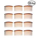 Frcolor Peines de plástico para pinzas de pelo, 17 dientes Peine de lado para cabello fino (12 piezas)
