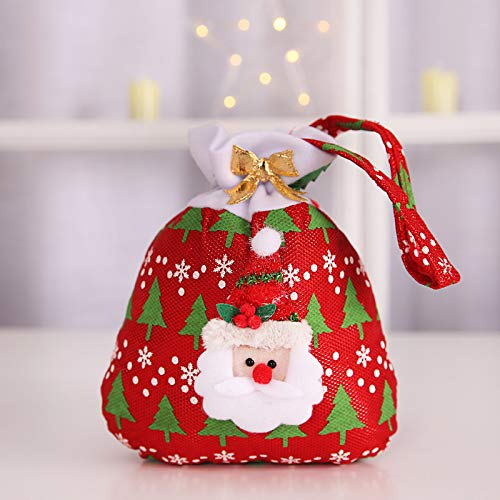 "Christmas Drawstring Gift Bag, YXFT Treat Goodie Candy Chocolate Bags, Cute Holiday Goody Bag with 3D Decoration for Festival, Party Snack ( 7.9"" x 9.4"" ) (Red)"