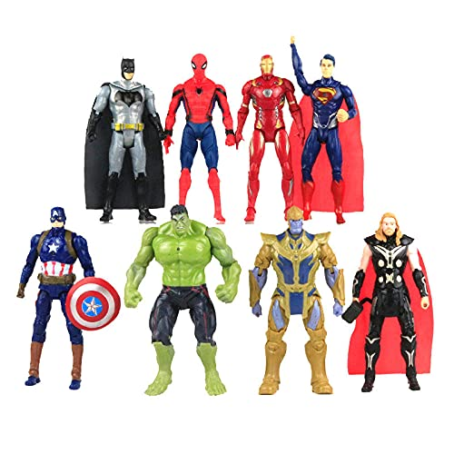 8 pz/lotto Action Figures Light Joint Mobile Supereroe SpiderMan Thor Hulk Capitan America Bambole...