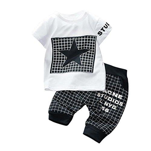 Mingfa Oberteil mit Buchstaben-Stern-Druck und Hose im Set, für: Kleinkind, Baby, Mädchen, Kinder, Sommerkleidung, Outfits für 6-24Monate