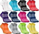 Rainbow Socks - Damen Herren Quarter Sport Socken - 12 Paar - Mehrfarbig - Größen 39-41