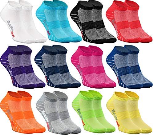 Rainbow Socks - Damen Herren Quarter Sport Socken - 12 Paar - Mehrfarbig - Größen 36-38