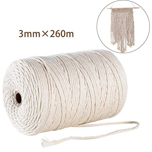 GoMaihe Macrame Cord 3mm x 850 ft, 4-Strand Twisted Soft Unstained Cotton Rope for Plant Hanger Wall Hanging Knitting Craft Beginners, Home Bedroom Living Room Decorations, Beige