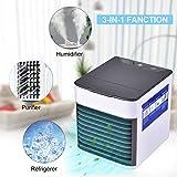 Climatiseur Portable, SECARIER USB Ventilateur Refroidisseur D air Portable 3 EN 1 Réglable Air Climatiseur Mini Air Refroidisseur Humidificateur Purificateur