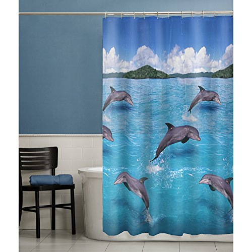 MAYTEX Splash Dolphin PEVA Vinyl Shower Curtain, Blue