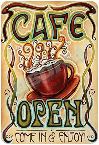 OSONA Cafe Open Come In Entoy retro nostalgiskt traditionell rostfärg burk logga reklam slående väggdekoration gåva