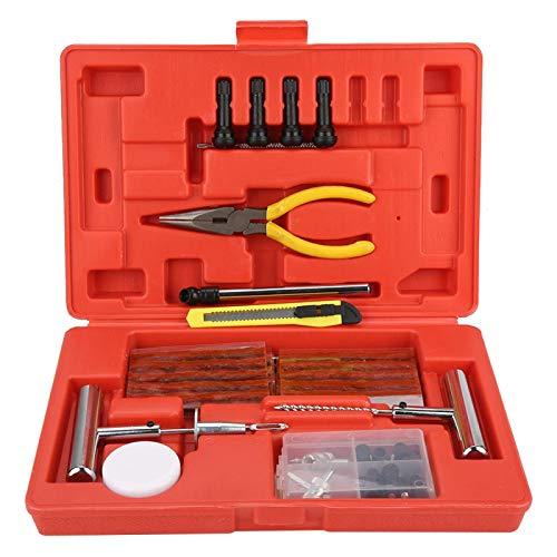 LANTRO JS - Kit de reparación de neumáticos de 73 piezas, kit de reparación de neumáticos de alta resistencia, juego de herramientas de reparación de neumáticos para automóviles y motocicletas con caj