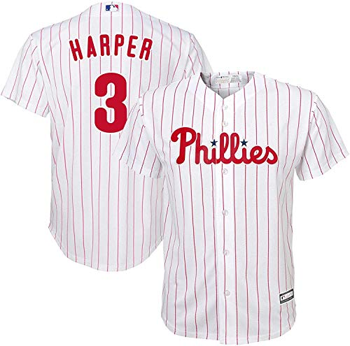 Outerstuff Bryce Harper Philadelphia Phillies #3 White Kids 4-7 Cool Base Home Player Jersey (7)