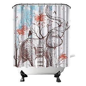 "Elephant Shower Curtain Cloth Girl on Elephant with Red Trees Bath Curtain Cute Wild Animal Bathroom Decor for Girls Hooks Included 72""X72"""