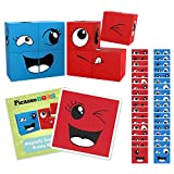 PicassoTiles Magnetic Expression Puzzle Cube Blocks 8 Piece Mix & Match Cubes Sensory Toys STEM Learning Kit Magnet Construction Building Block Toy Set w/ 36 Creative Emotion Game Card Included PMC08