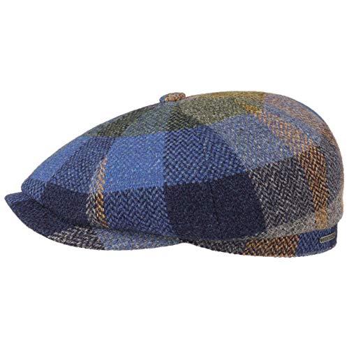 Stetson Gorra Hatteras Lambswool Check Hombre - Made in The EU de Lana con Visera, Forro otoño/Invierno - 59 cm Azul