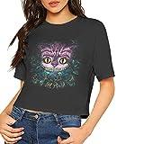 TNTE Women's Alice in Wonderland Cheshire Cat Round Neck Exposed Navel T-Shirt Girls Sexy Tee Crop Tops Black Small