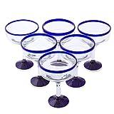 NOVICA Clear Blue Rim Glass Eco-Friendly Margarita Glasses, 13 Ounces, 'Cobalt Contrasts' (Set Of 6)