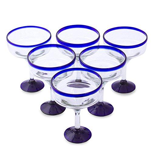 NOVICA - 284619 NOVICA Clear Blue Rim Glass Eco-Friendly Margarita Glasses, 13 Ounces, 'Cobalt Contrasts' (Set Of 6)