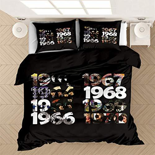Juego de funda de edredón de BLSM The Beatles, diseño clásico de los Beatles con almohadas a juego, antialérgica y suave, juego de edredón de regalo para adolescentes y niñas dormitorio (9,220 x 260)