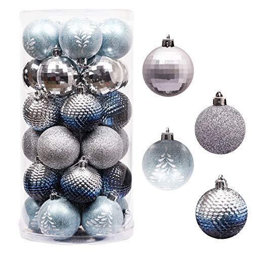 Valery Madelyn Weihnachtskugeln 30 Stücke 6CM Kunststoff Christbaumkugeln Weihnachtsdeko mit Aufhänger Baumschmuck für Weihnachten Dekoration Winterwünsches Thema Silber Blau