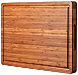 Bamboo Wood Cutting Board for Kitchen, Cheese Chopping Board, Butcher Block, 1.2' Thick with Hidden...