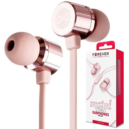 Forever MSE-200 Universal In-Ear-Ohrhörer Roségold, Rosa Metallisch-Look Kopfhörer mit Mikrofon Rufannahmetaste