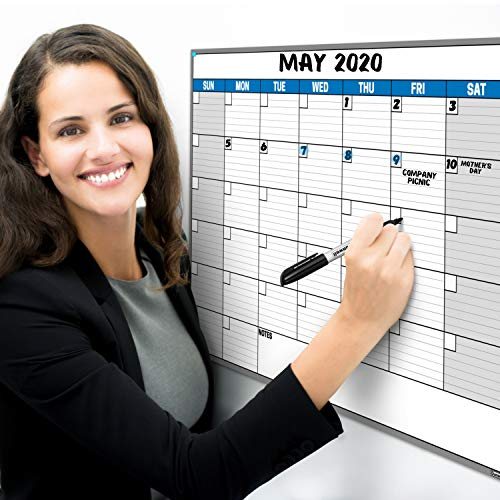 Dunwell 18x27 Dry Erase Calendar - (Blue) Undated Large Dry Erase Calendar for Wall, Reversible Reusable Monthly and Weekly Dry Erase Calendar, Wipe Off Calendar Poster Shipped Rolled Not Folded