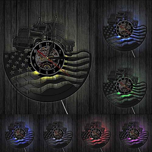 Remolque de Tractor agrícola Americano Orgulloso Reloj de Pared de Estados Unidos Bandera Americana Disco de Vinilo decoración de Granja Regalo de granjeros patrióticos con_LED