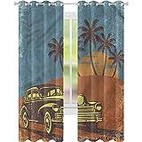 jinguizi Cortinas para dormitorio coches vintage paseo en la playa W42 x L72 cortinas opacas para dormitorio