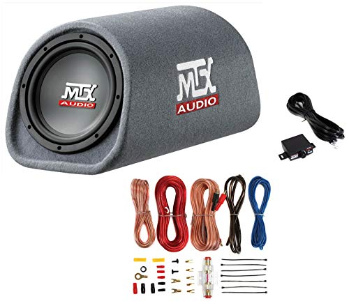 "MTX Road Thunder RT8PT 8"" 240 Watt Powered Vented Ported Bass Tube+Amp Wire Kit"