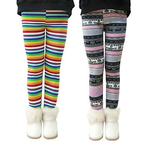 LSHEL Thermoleggings Mädchen Kinder Leggings Gefütterte Leggins Herbst Winter Warm Hose Thermohose 2 Stück, Regenbogenstreifen+Lila, 134-140