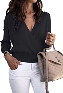 Womens Sexy Plunge V Neck Wrap Sweaters Long Sleeves Ribbed Pullover Fall Knit Tops