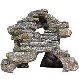 Penn-Plax Reptology Shale Scape Step Ledge & Cave Hideout – Decorative Resin for Aquariums & Terrariums – Great for Reptiles, Amphibians, and Fish – Extra Large
