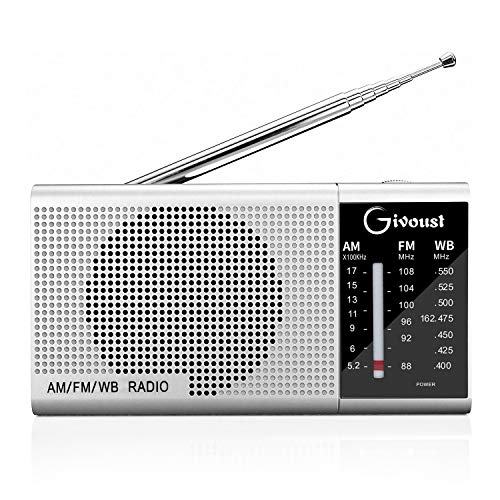 AM FM Weather Portable Pocket Radio Transistor Radio Battery Operated by 2 AA Batteries, Personal Radio with Standard Stereo Earphone Jack, Best Sounds Quality Speaker, Retractable Antenna, Silver