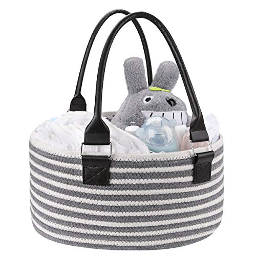 YouJia Rope Diaper Storage Caddy - Baby Stuff Basket, Portable Travel Organizer - Bin for Toys, Changing Pad, Wipes, Clothes, Bib, Supplies - Best Gift for Infants, Newborn Necessitie
